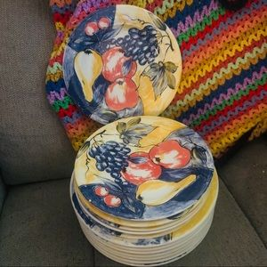 pier1 made in italy fruit plate set hand painted